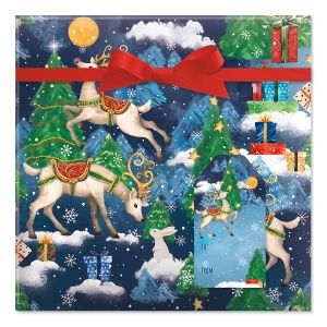 Reindeer Fantasy Jumbo Rolled Gift Wrap and Labels