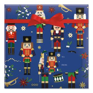 Nutcrackers Jumbo Rolled Gift Wrap and Labels