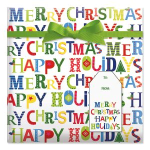 Merry Christmas Jumbo Rolled Gift Wrap and Labels