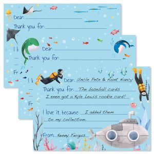 Underwater Fill-in Kids Thank You Cards