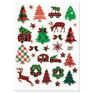 Plaid Holiday Stickers