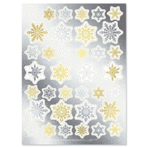 Gold & Silver Foil Snowflake Stickers