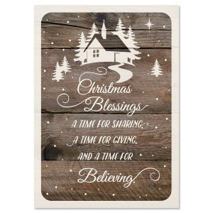 Wishes on Wood Religious Christmas Cards
