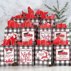 Black and White Holiday Gift Bags