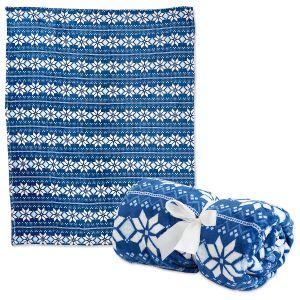 Blue Nordic Plush Throw