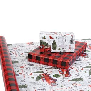 Truck Snowman Trees Double-Sided Jumbo Rolled Gift Wrap