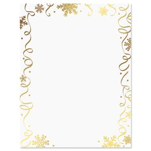 Foil Streamers & Snowflakes Christmas Letter Papers