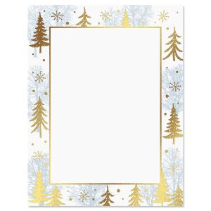 Foil Winter Woods Christmas Letter Papers
