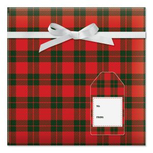 Country Christmas Plaid Jumbo Rolled Gift Wrap and Labels