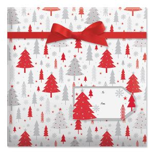 Winter Forest Jumbo Rolled Gift Wrap and Labels
