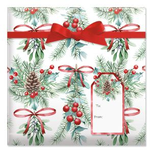 Under the Mistletoe Jumbo Rolled Gift Wrap and Labels