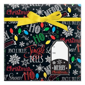Let it Snow Jumbo Rolled Gift Wrap and Labels