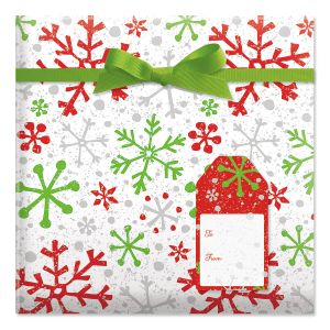 Crackle Snow Red Jumbo Rolled Gift Wrap and Labels