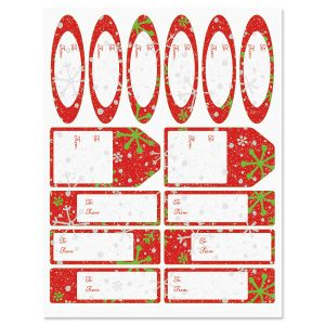 Crackle Snow Red Gift Wrap To/From Labels