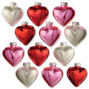 Shiny Glass Heart Ornaments
