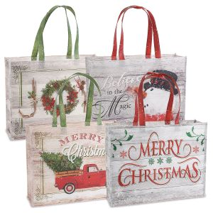 Rustic Christmas Shopping Totes Value Pack