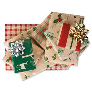 Christmas Kraft Flat Gift Wrap Sheets