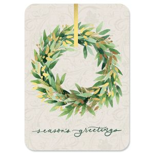 Gold Wreath Deluxe Foil Christmas Cards