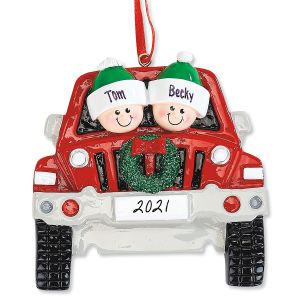 Red Truck Family Christmas Hand-Lettered Ornament