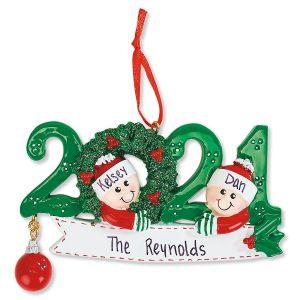 2021 Stripe Mitten Personalized Ornament