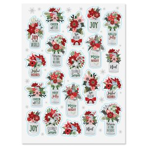 Winter Floral Jars Stickers