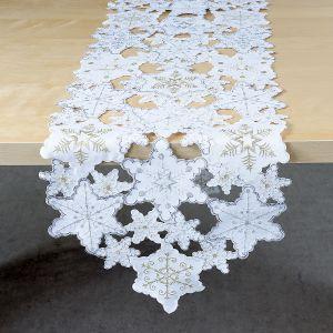 Snowflake White & Gold Table Runner