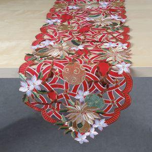 Gold & Red Poinsettias Table Runner