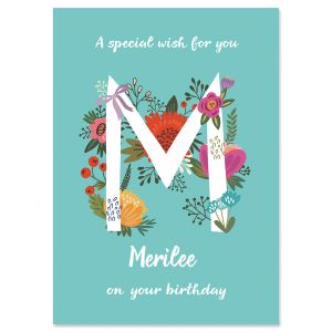Floral Initial Personalized Birthday Card