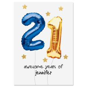 Balloon Age Personalized Birthday Card