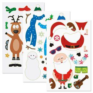 Build a Santa, Reindeer, Snowman Stickers
