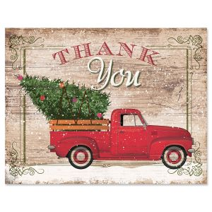Rustic Red Truck Thank You Note Cards