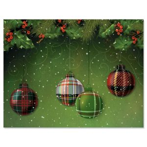 Checkered Ornaments Note Cards