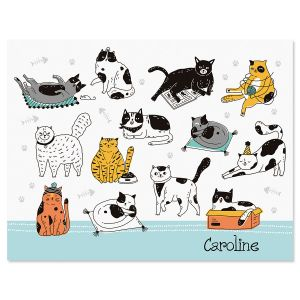 Cat Sketches Personalized Note Cards