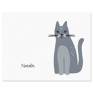 Gray Cat Personalized Note Cards