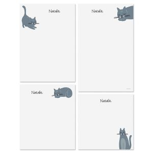 Gray Cat Personalized Notepads