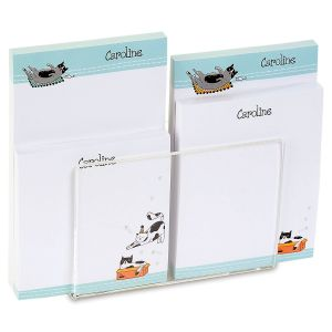 Cat Sketches Personalized Notepad Set