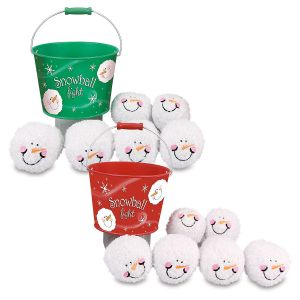 Tin Bucket & 6 Plush Snowballs
