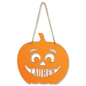 Wood Hanging  Halloween Jack-O-Lantern
