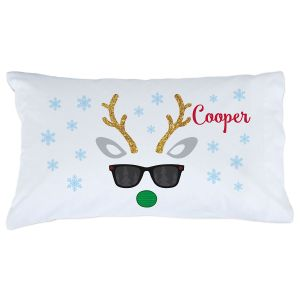 Personalized Christmas Boy Reindeer Pillowcase