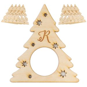 Personalized Christmas Tree Wood Napkin Rings