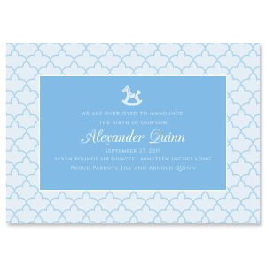 Personalized Blue Scalloped Birth Announcement