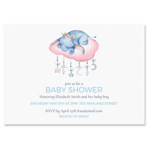 Personalized Sleepy Elephant Shower Invitations