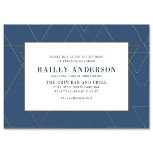 Personalized Posh Navy Geometric Invitations