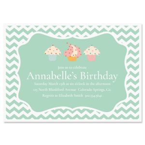Personalized Cheveron Cupcake Birthday Invitations