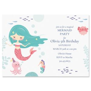 Personalized Mermaid Birthday Invitations