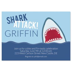 Personalized Shark Attack Birthday Invitations