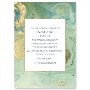 Personalized Teal and Gold Agate Invitations