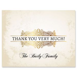 Personalized Rustic Gold Thank You Cards