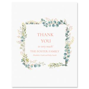Personalized Floral Frame Thank You Cards
