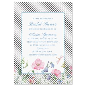 Personalized Diagonal Stripped Floral Invitations